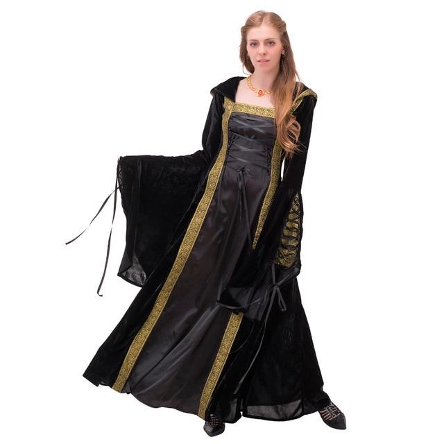 Black Medieval Renaissance Dress Hooded Vintage Gothic Lolita