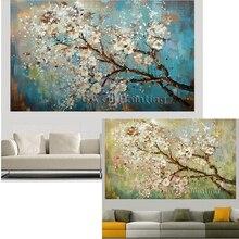 Большая ручная роспись цветы дерево абстрактная Современная картина маслом на холсте настенные художественные настенные картины для гостиной домашний декор