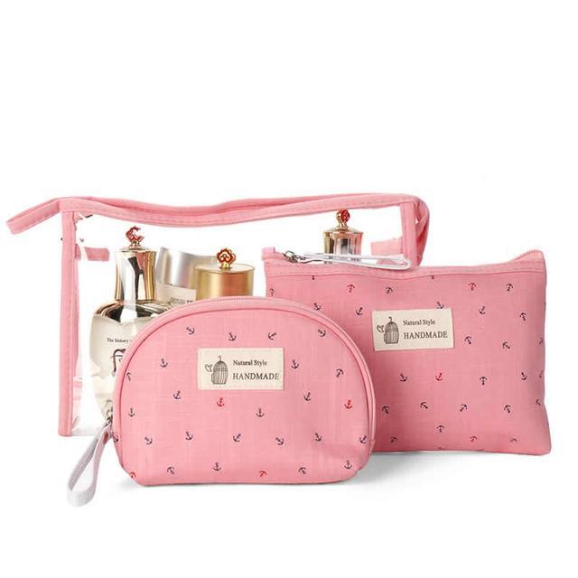 Kawaii Zippered Cosmetic Bags 3 pcs Set