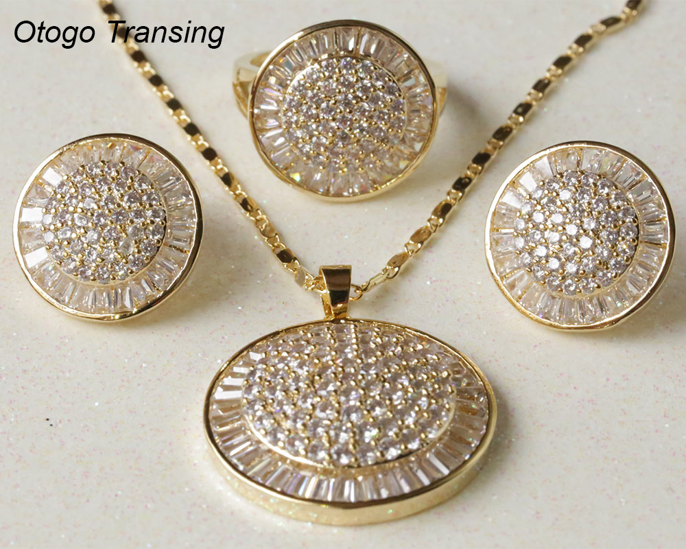 Otogo Transing 2019 Party Yellow White Color Jewelry Set Women Fashion Round Colorful Ring Earrings Necklace