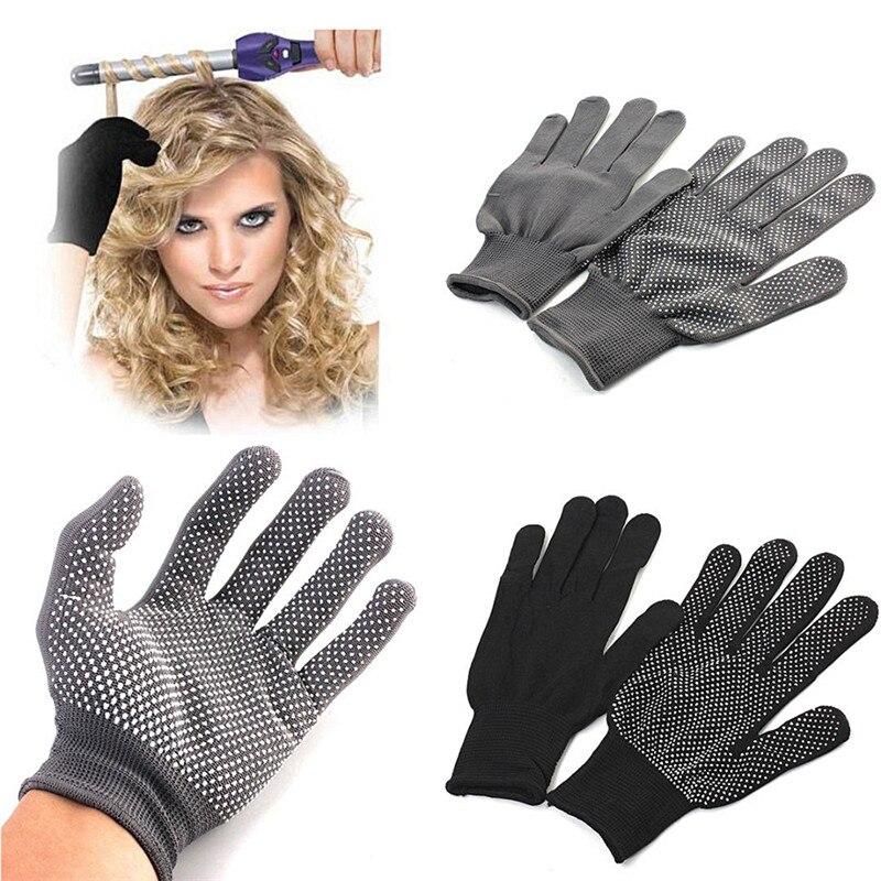 HOT Sale 1 Pair Hair Straightener Perm Curling Hairdressing Heat Resistant Finger Glove Black Grey Color