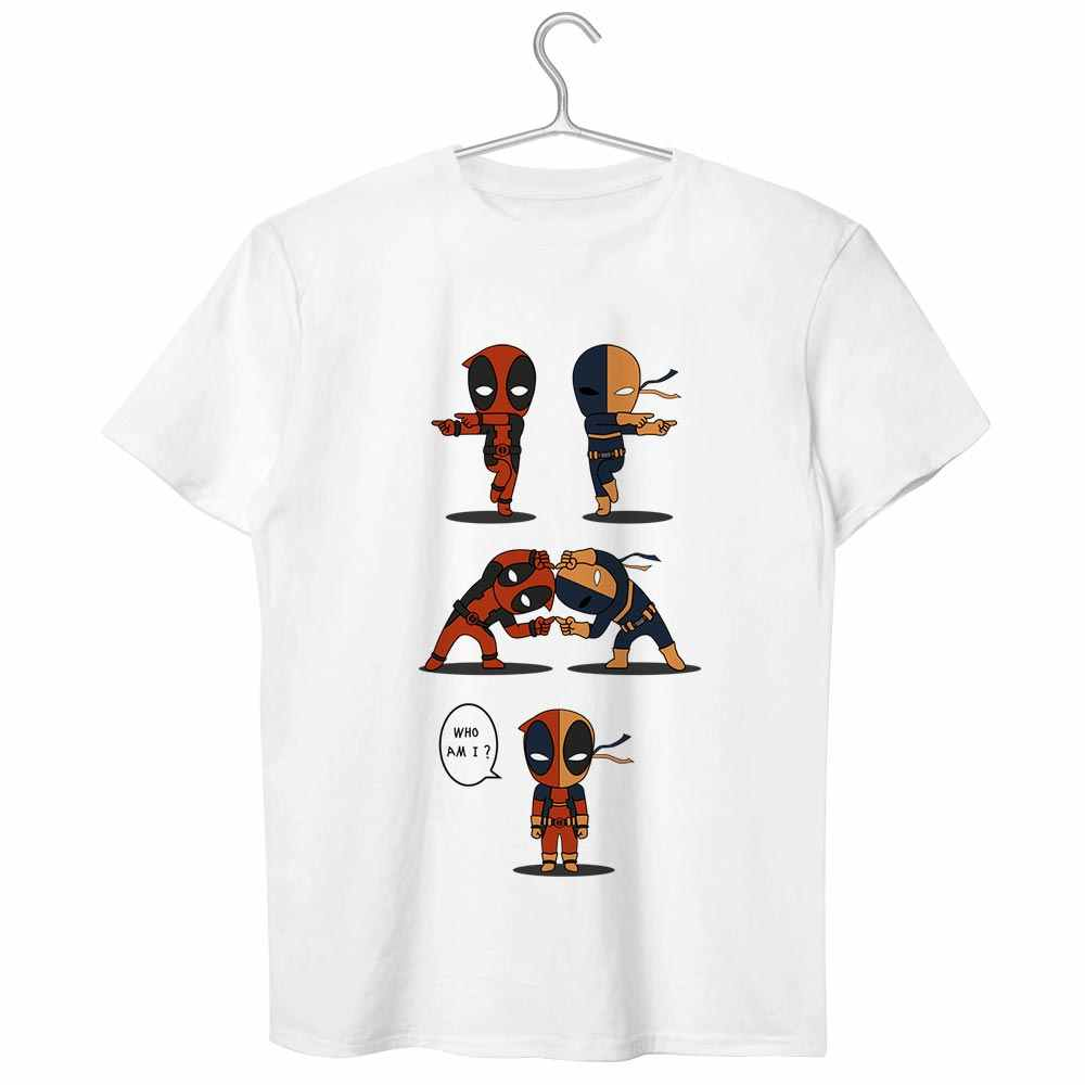 d78d26b39 ... Deadpool VS Deathstroke T Shirt Impossible Superhero Fusion Cool  Creative Funny T-shirt Crossover Design ...