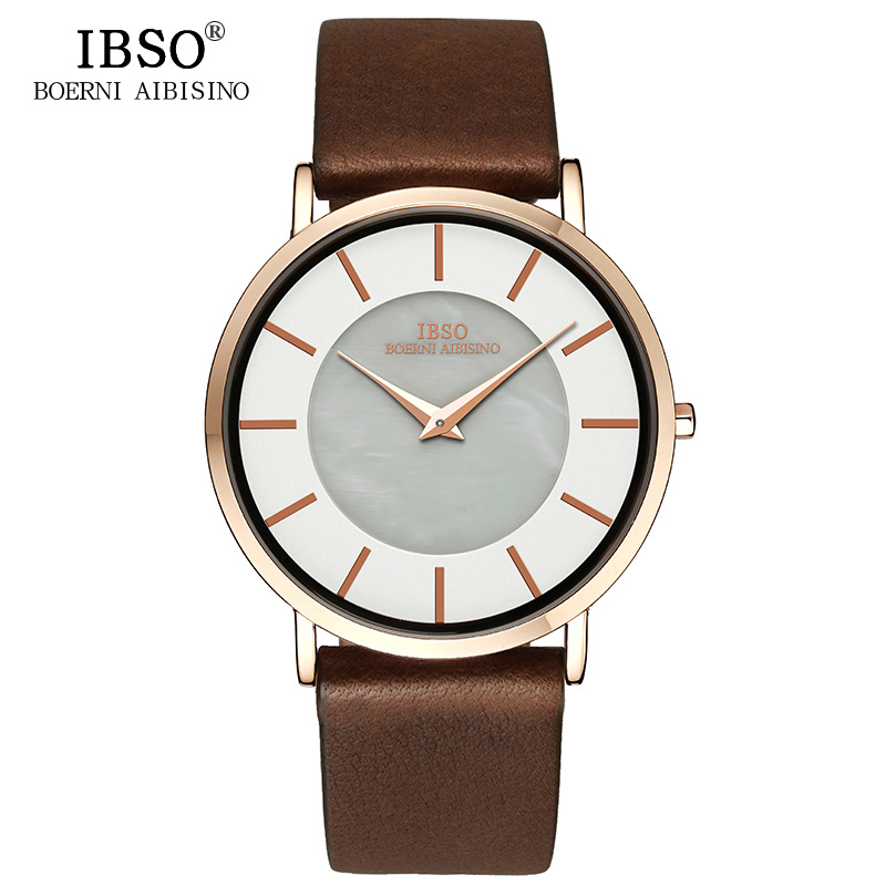 IBSO Top Brand 6.8MM Ultra-Thin Quartz Watch Men Genuine Leather Strap Mens Watches 2018 Fashion Wristwatches Relogio Masculino ibso outdoor leisure sports watches for men genuine leather band quartz mens watches 2018 fashion waterproof relogio masculino
