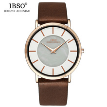 IBSO Top Brand 6 8MM Ultra Thin Quartz Watch Men Genuine Leather Strap Mens Watches 2018