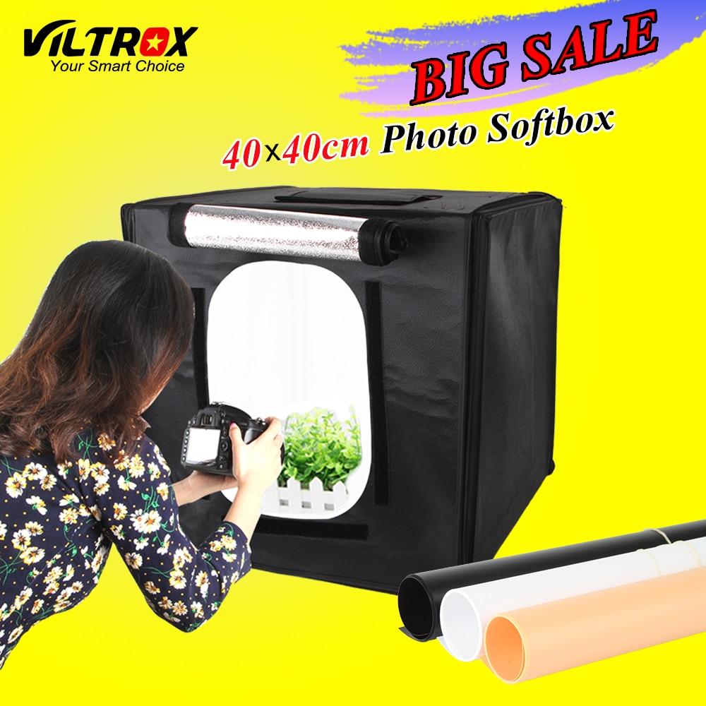 Viltrox 40 40cm LED Photo Studio Softbox Shooting Light Tent Soft Box Portable Bag AC Adapter