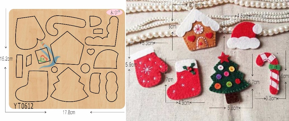 Christmas suit DIY new wooden mould cutting dies for scrapbooking Thickness/15.8mm/YT0612-in Cutting Dies from Home & Garden    1