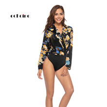 Echoine Women Fashion Jumpsuit Floral Print Shirt Tops Turn-Down Collar Long Sleeve Sexy Bodysuit Brief Casual Romper Streetwear