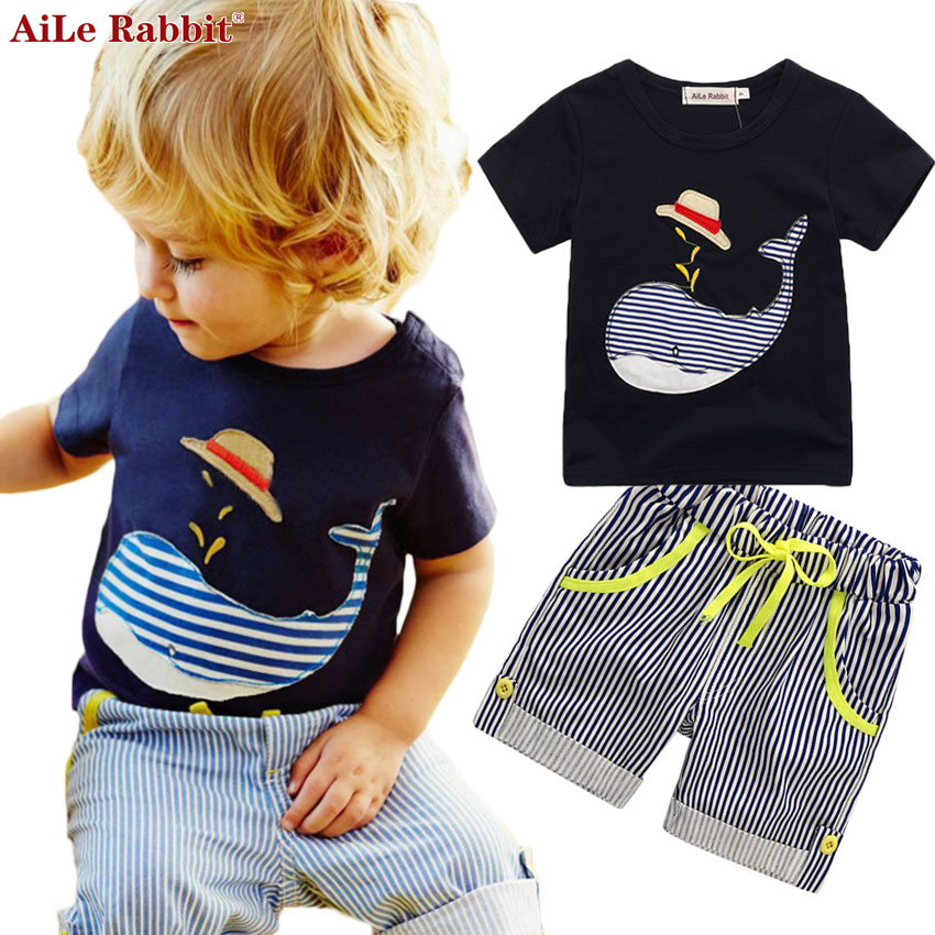 AiLe Rabbit Summer Kids Cotton Boys Suits T-shirt + Pants 2pcs Suit Short-sleeved Striped Short Children's  Cartoon Whale