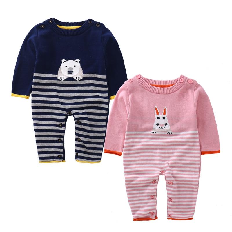 Autumn baby girls boys cartoon beer rabbit wool rompers infant long sleeve jumpers children climbing striped stuff goods 17S907