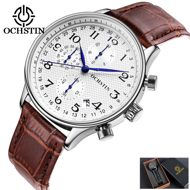 2017 OCHSTIN Men Watches Top Brand Luxury Leather Business Quartz Chronograph Watch Men Sport Watch Clock Male Relogio Masculino цена 2017