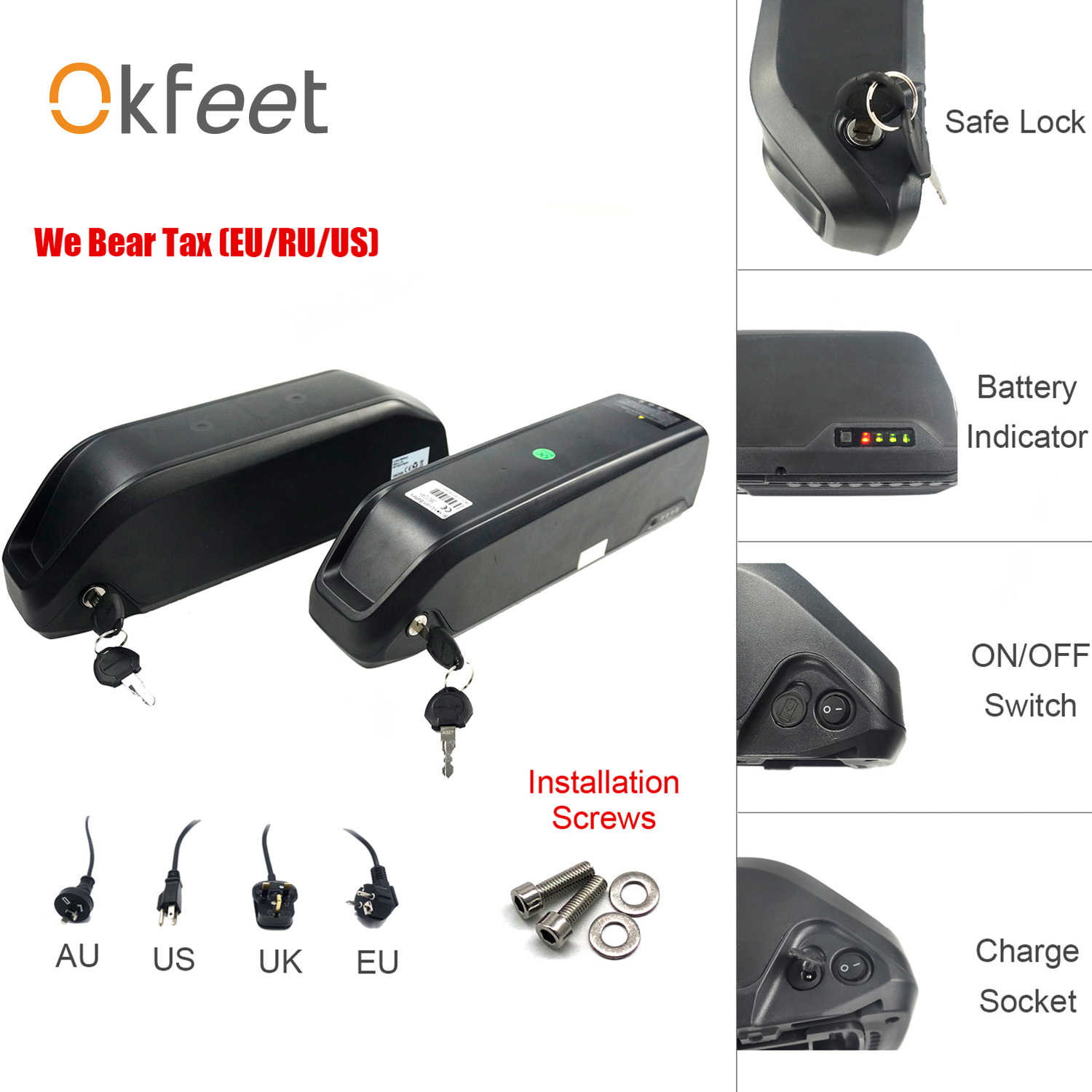 Okfeet Bafang Battery 36V 48V DP-5C DP-6C Battery Polly 48V 12Ah 13Ah 16Ah Ebike Cycling Lithium Battery With  Charger