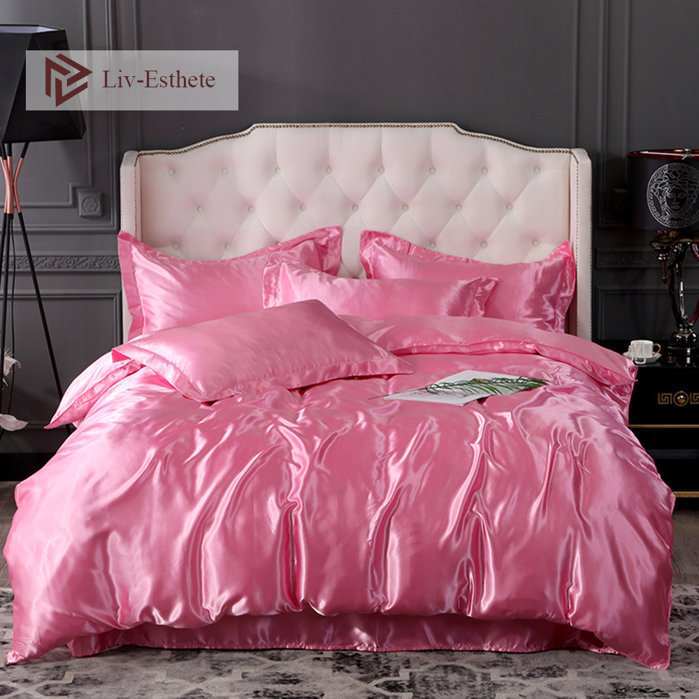 PINK SOLID 1000TC SATIN SILK FITTED//SHEET//DUVET SET CHOOSE SIZE /& ITEMS
