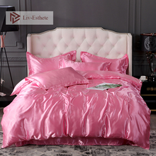 Liv-Esthete Hot Sale Luxury Pink Silk Bedding Set Silky Duvet Cover Flat Sheet Pillowcase Queen King Bed Wholesale