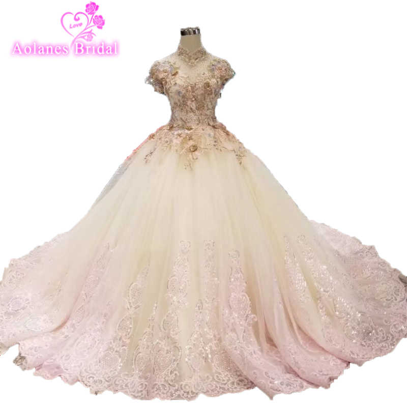 522ffbf9b4 Luxury Lebanon Blush Pink 3d Flower Wedding Dresses 2019 Full Sleeves  Muslim Bridal Gowns Crystal Lace Pearls Robe De Mariee