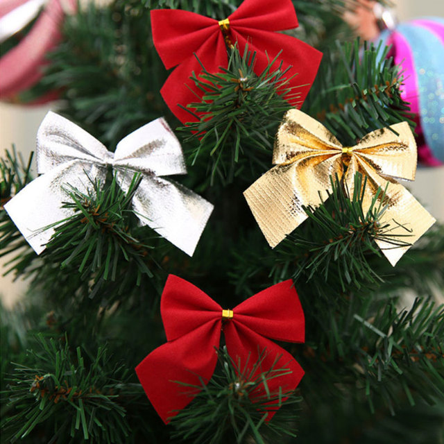 12pcsset christmas decorating bows christmas tree decorations gold silver red bows decoration - Christmas Decorations Bows
