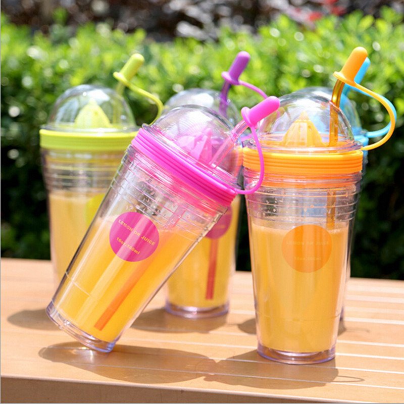 <font><b>Double</b></font> Layer Home Office Fashion DIY Lemon <font><b>Fruit</b></font> <font><b>Juice</b></font> <font><b>Cup</b></font> Heat Resistant Portable <font><b>Plastic</b></font> Drinking <font><b>Straw</b></font> <font><b>Cup</b></font> with <font><b>Lid</b></font> Juicer