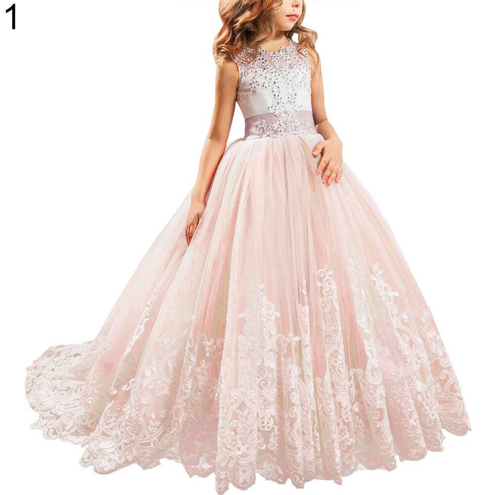 Mode jolie fille robe de princesse dentelle traînant robe pour enfants fête mariage demoiselle d'honneur - 2