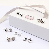 7 Çift/takım Kore Gümüş Kristal İnci Çiçek Saplama Küpe Için Kadınlar Brinco Moda Takı Pendientes Mujer Moda'nın Earing