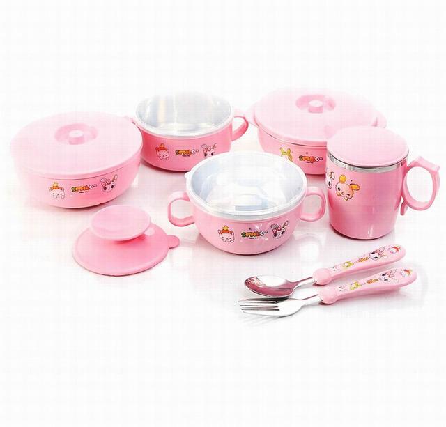 Venda quente CE-Friendly conjuntos de Bebê tigela de aço inoxidável tigela criança ventosa isolamento criança dinnerware set com colher e garfo