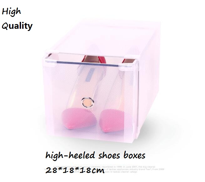 Bestseller 4pcs lot Optional Transparent Plastic High heeled Shoe Box Stackable Foldable Storage Drawer Box Organizer