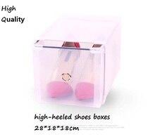 Bestseller 4 teile/los Optional Transparent Kunststoff hochhackigen Schuh Box Stapelbar Klappbar Schublade Box Organizer 28x18x18 cm