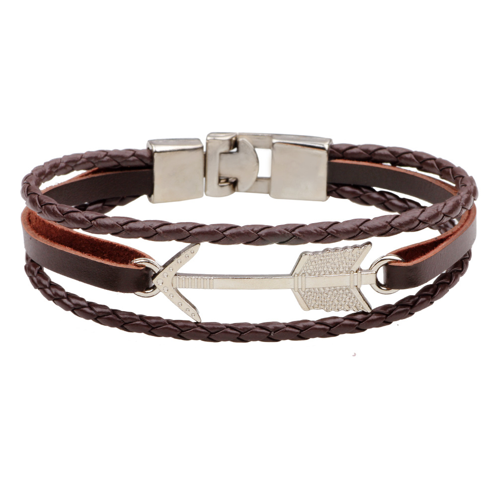 Samyeung Punk Silver Arrow Bracelets for Women Men Wristband Cuff Leather Bracelet Ethnic Jewelry Dropshipping 2017 Braslet