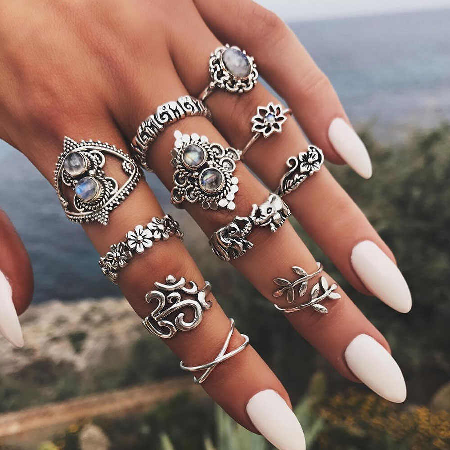 RAVIMOUR 14 Styles Boho Knuckle Rings for Women Bohemian Elephant Flower Punk Midi Finger Ring Set Indian Jewelry Anillos Mujer