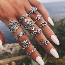 RAVIMOUR 14 estilos Boho nudillo Anillos para las mujeres bohemio elefante flor Punk Midi dedo anillo de joyería India Anillos Mujer