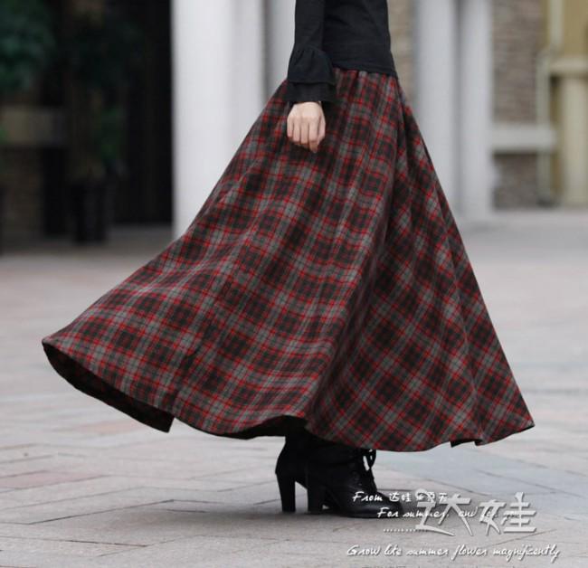 New 2016 women's casual long plaid skirt elastic waist ankle ...