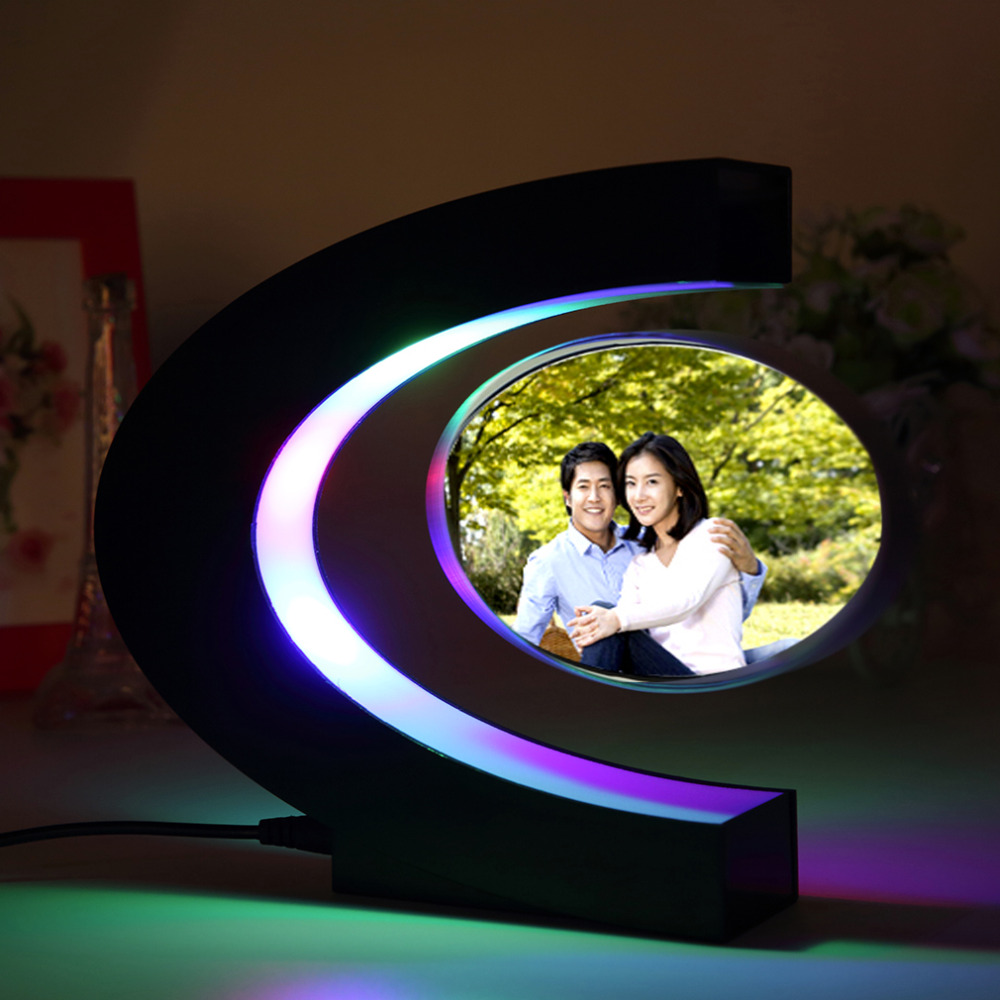 C Shape Electronic Magnetic Levitation Floating Globe Photo Frame Blue Light US Plug Birthday Gift Xmas Decor Wedding Gift