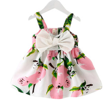 Summer Baby Girls Dresses 0-3year Girls Sleeveless Vestidos A-Line Bowknot Flower Print Cotton Children Clothes Baby Girl Dress цены