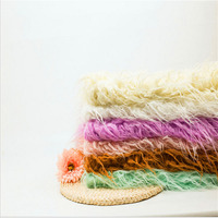 Newborn Photography Props BlanketsSoft Long Fur Plush Baby Blanket Basket Flokati StufferFaux Fur Fotografia Backdrop