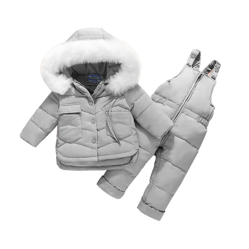 Toddler Girl Clothes Set 2019 Winter Children's Jacket + Jumpsuit Baby Girl Winter Duck Down Snow Suit  Girls Boys Coat Thicken