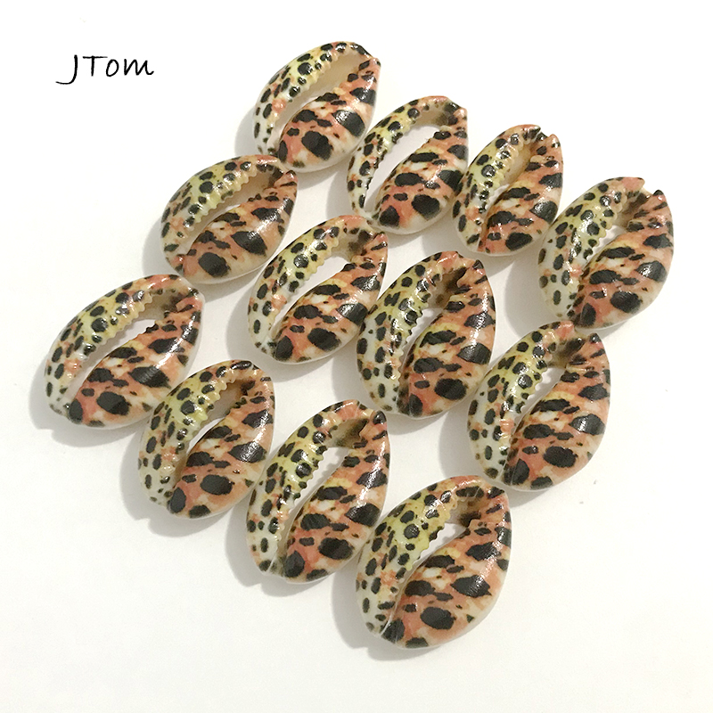 12pcs/Lot 12x18MM Leopard Animal Prints Natural Puka Cowrie Sea Shell Beads for DIY Jewelry