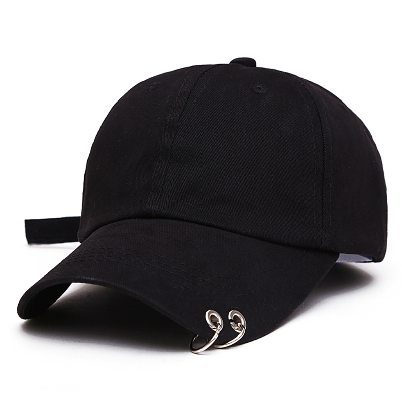 New Mens Womens Black Color Adjustable Casual   Baseball     Cap   Metal Rings Plain Hat Cotton Blend Fashion Adjustable   Caps