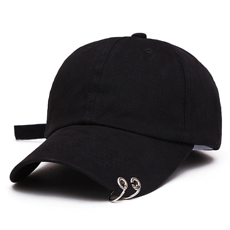 New Mens Womens Black Color Adjustable Casual Baseball Cap Metal Rings Plain Hat Cotton Blend Fashion Adjustable Caps