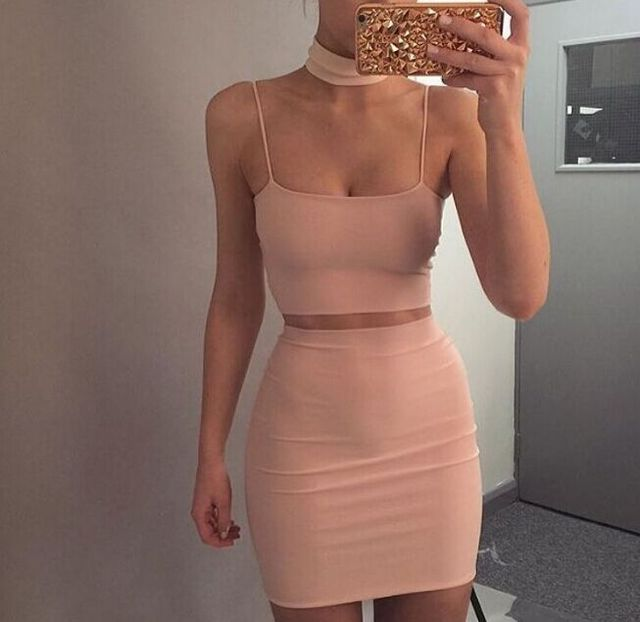 Free Shipping New Arrival 2 Piece Outfits for Women 2017 Halter Sexy 2 Piece Bandage Dress Bodycon Sets Nude