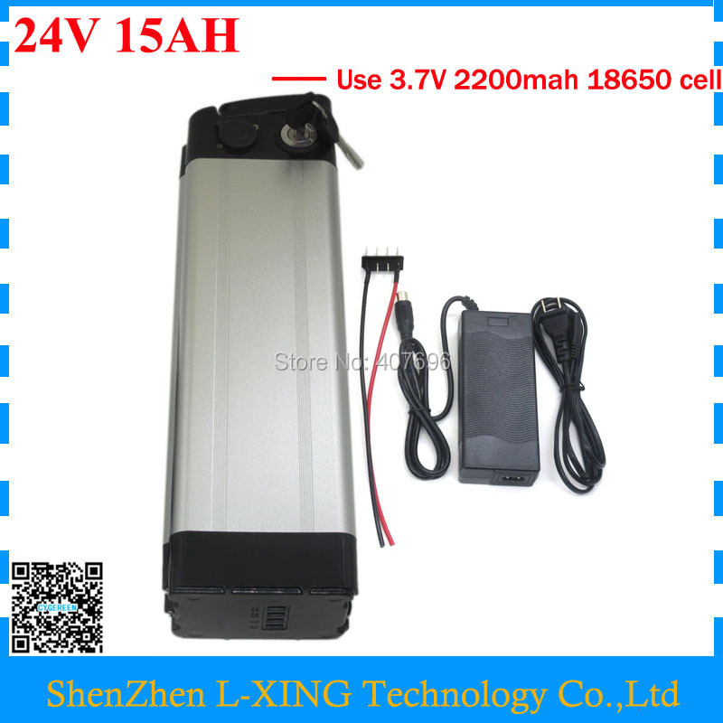 24v 15ah Battery 350W 24 V 15AH battery pack 24V Silver fish battery 15A BMS Bottom Discharge with 2A Charger Free customs fee free customs taxes super power 1000w 48v li ion battery pack with 30a bms 48v 15ah lithium battery pack for panasonic cell