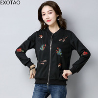 EXOTAO Floral Jacket Woman Embroidered Spring Autumn Casual Cardigan With Zip Long Sleeves Stand Collar Plus
