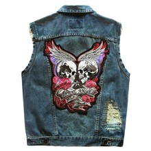 Top Quality Brand New Mens Hole Patch Sleeveless Vests Man Jean Jackets Cowboy Badge Motorcycle Waistcoats Plus Size 5XL Skull
