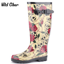 2017 High Quality New Arrival Small Flower Print Woman Mid Calf Rainboots Rainshoes Waterproof Rain Boots 38