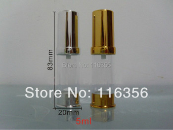 5ML gold/siver   airless  lotion bottle or vacuum with airless pump