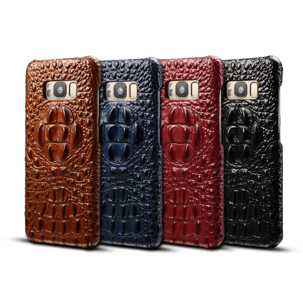 Crocodile Head Genuine Leather Hard Case for Samsung Galaxy S8 S8plus Customized Mobile Phone Case for S8 S8P