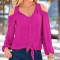 Venda quente Mulheres Blusas 2016 Outono Tops Sexy Fora do Ombro V Neck Manga Comprida livre Camiseta Casual Solto Blusas Plus Size