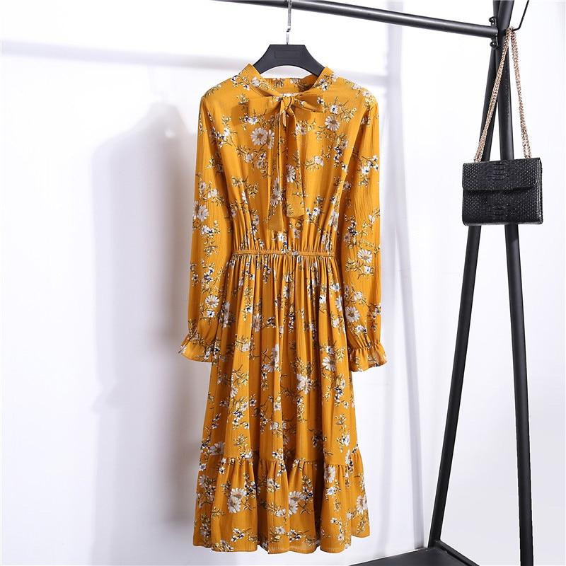 Summer Korean Chiffon Women Dress Elegant Ladies Vintage Long Dress Boho Floral Office Long Sleeve Vestidos Clothing 5LYQ003 44