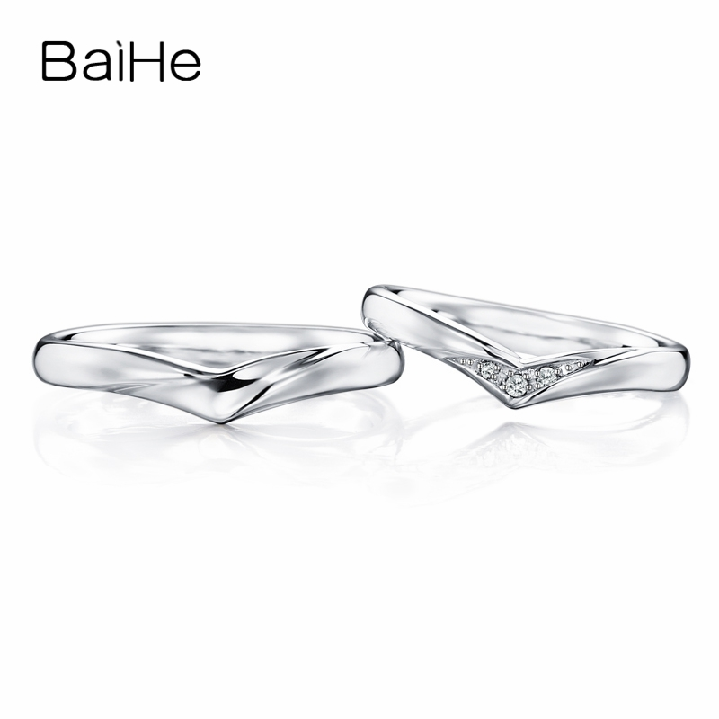 BAIHE Solid 18K White Gold 0.05ct Certified H/SI Round 100% Genuine Natural Diamonds Wedding Women Trendy Jewelry Couple Ring   BAIHE Solid 18K White Gold 0.05ct Certified H/SI Round 100% Genuine Natural Diamonds Wedding Women Trendy Jewelry Couple Ring