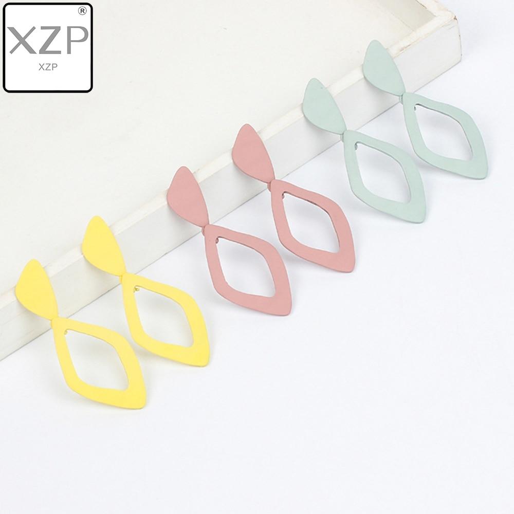 XZP Korean Japan Simple Irregular Geometric Polygon Hollow Stainless Steel Matte Pendant Drop Earrings for Women Student Girls