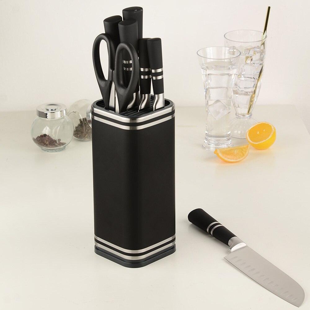 XYJ Multifunctional Knife Holder Black Steel Knives Stand For Kitchen Knife&Scissor&Sharpenner Kitchenare Storage Holder Tools