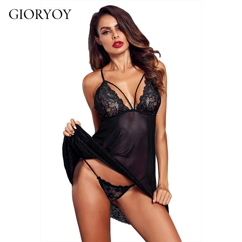 83bc0229b67 GIORYOY 2019 New Lingerie Slip Black Sexy Women Underdress Undewear Sexy  Sleepwear Lace Slip Sexy Belt