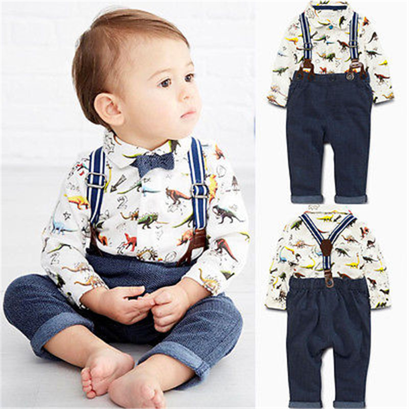 Toddler Kids Baby Boys Long Sleeve Shirt Tops Braces Pants